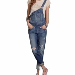 Hollister Distressed Jean Overalls Size Medium